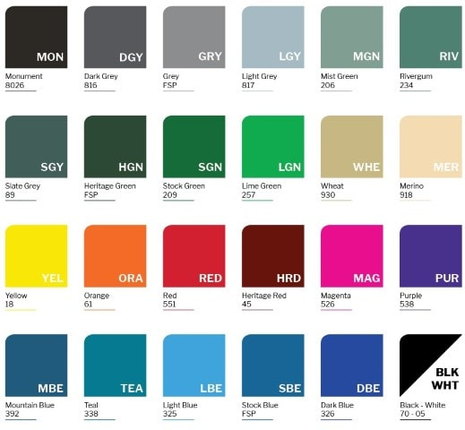 Locker Colour chart